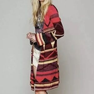 Free People Striped Aztec Long Duster Size Medium